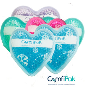 "ComfiPak Small Heart Pack Gel Bead Cold & Hot (6) Pack Multi-Purpose - 5.1"" X 4.7"""