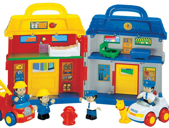 Megcos Toys Take Along Emergency Center Toy House ~NEW~