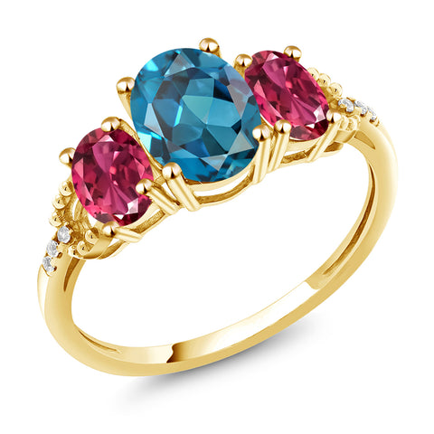London Blue Topaz and Pink Tourmaline Yellow Gold Ring