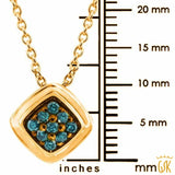 0.12 Ct Round Blue Diamond 925 Yellow Gold Plated Silver Pendant With Chain - Jewelry