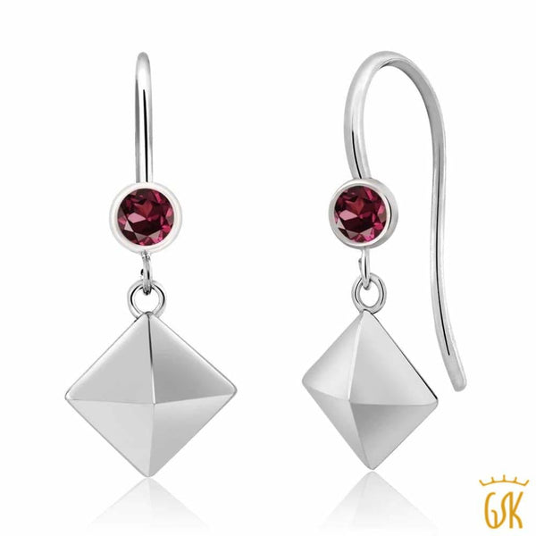 4b850b65c 0.24 Ct Round Red Rhodolite Garnet 925 Sterling Silver Pyramid Earrings