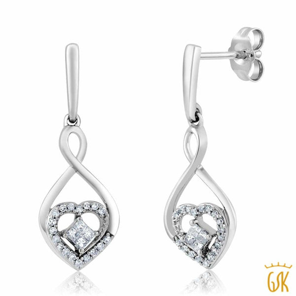 0.25 ctw Diamond Set in 10K Gold and 925 Silver Heart for Love Dangle Earrings
