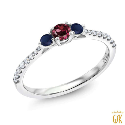 Gem Stone King 0.94 Ct Oval Red Created Ruby 14K White Gold Pendant With Chain