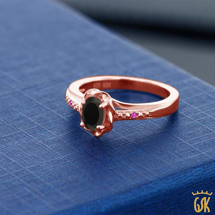 0.41 Ct Oval Black Onyx Pink Sapphire 18K Rose Gold Plated Silver Ring - Jewelry