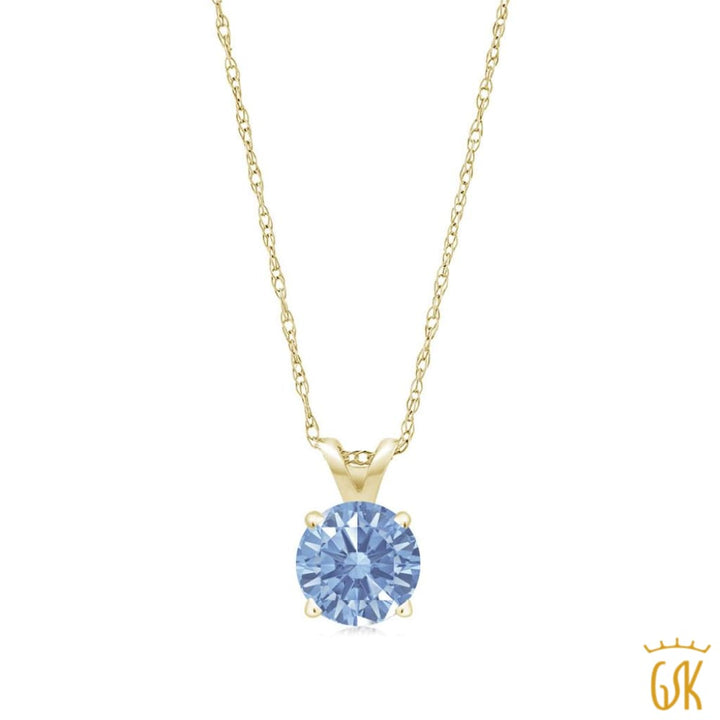 0.46 Ct Lavender 14K Yellow Gold Pendant Made With Swarovski Zirconia - Jewelry