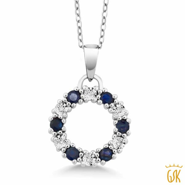 "0.5"" Blue Sapphire & Diamond Circle Eternity 925 Sterling Silver Pendant"