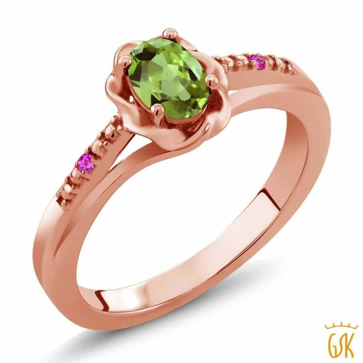 0.52 Ct Oval Green Peridot Pink Sapphire 18K Rose Gold Plated Silver Ring - Jewelry