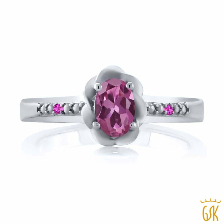 0.52 Ct Oval Pink Tourmaline Pink Sapphire 925 Sterling Silver Ring - Jewelry