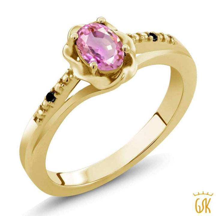 0.56 Ct Oval Pink Sapphire Black Diamond 18K Yellow Gold Plated Silver Ring - Jewelry