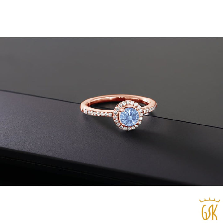 0.65 Ct 18K Rose Gold Plated Silver Ring Made With Lavender Swarovski Zirconia - Jewelry
