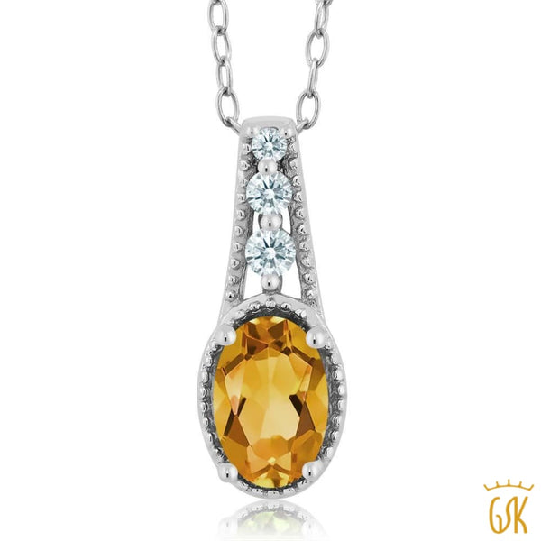 0.66 Ct Yellow 925 Sterling Silver Pendant Made With Swarovski Zirconia - Jewelry