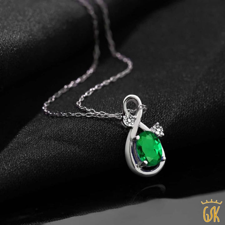 0.67 Ct Oval Green Simulated Emerald White Diamond 925 Sterling Silver Pendant - Jewelry