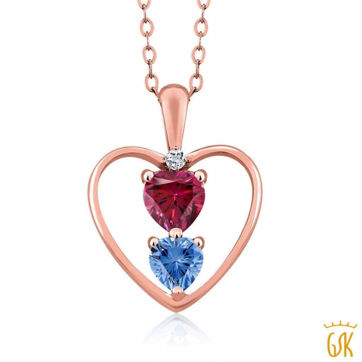 0.69 Ct 18K Rose Gold Plated Silver Pendant Made With Red Swarovski Zirconia - Jewelry