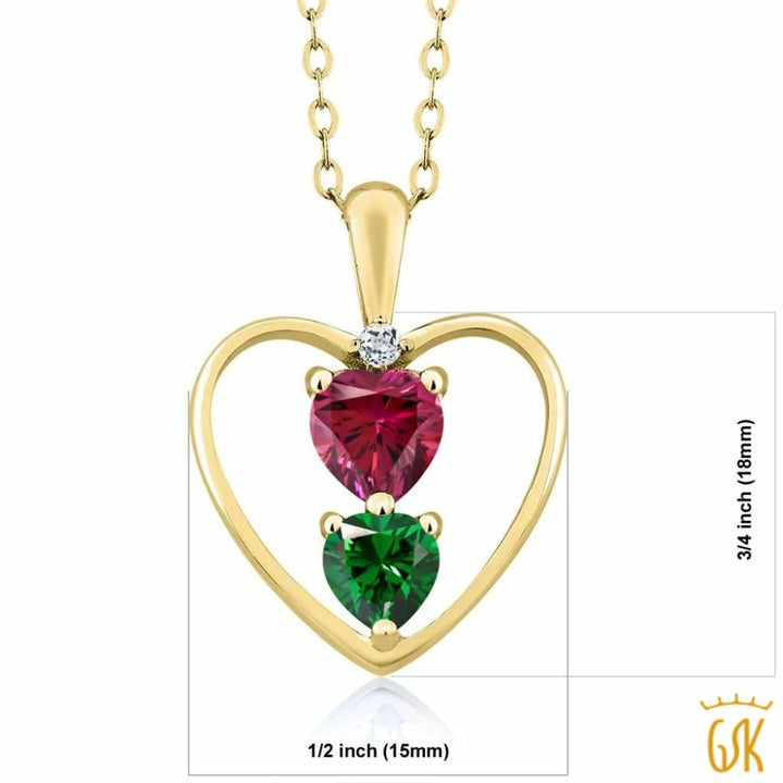 0.69 Ct 18K Yellow Gold Plated Silver Pendant Made With Red Swarovski Zirconia - Jewelry