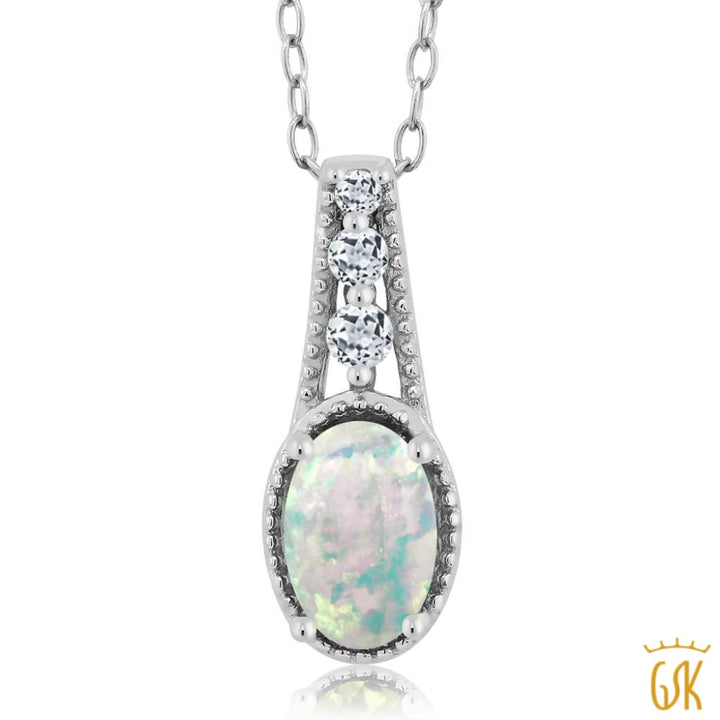 0.69 Ct Oval Cabochon White Simulated Opal White Topaz 925 Silver Pendant - Jewelry