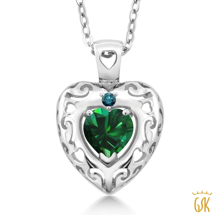 0.70 Ct Green Simulated Emerald Blue Diamond 925 Sterling Silver Pendant - Jewelry
