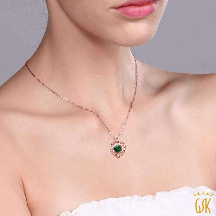 0.70 Ct Green Simulated Emerald White Topaz 18K Rose Gold Plated Silver Pendant - Jewelry