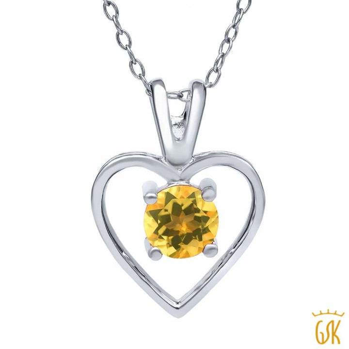 0.70 Ct Round Yellow Citrine 925 Sterling Silver Pendant With Chain - Jewelry