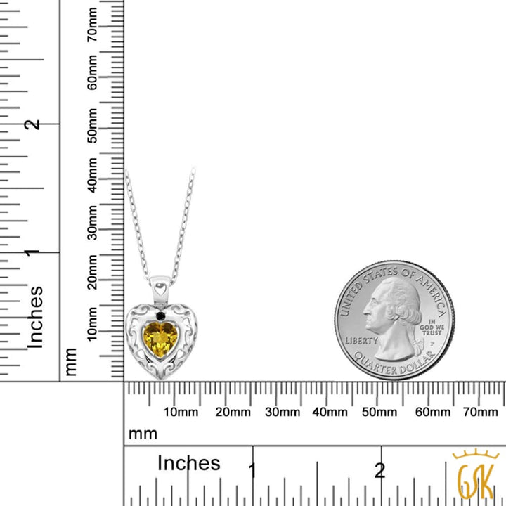 0.72 Ct Heart Shape Yellow Citrine Black Diamond 925 Sterling Silver Pendant - Jewelry
