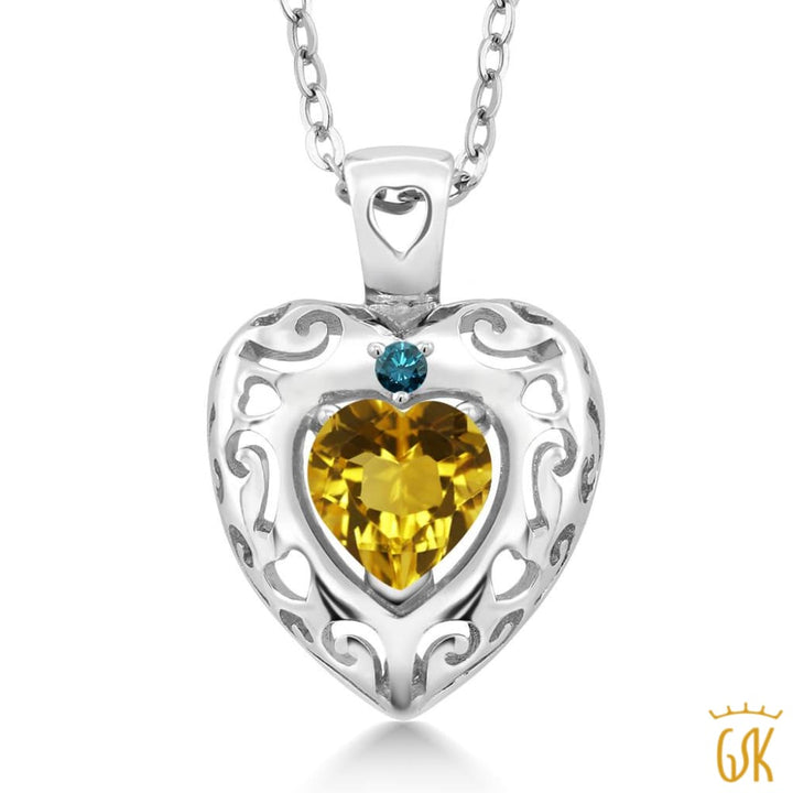 0.72 Ct Heart Shape Yellow Citrine Blue Diamond 925 Sterling Silver Pendant - Jewelry