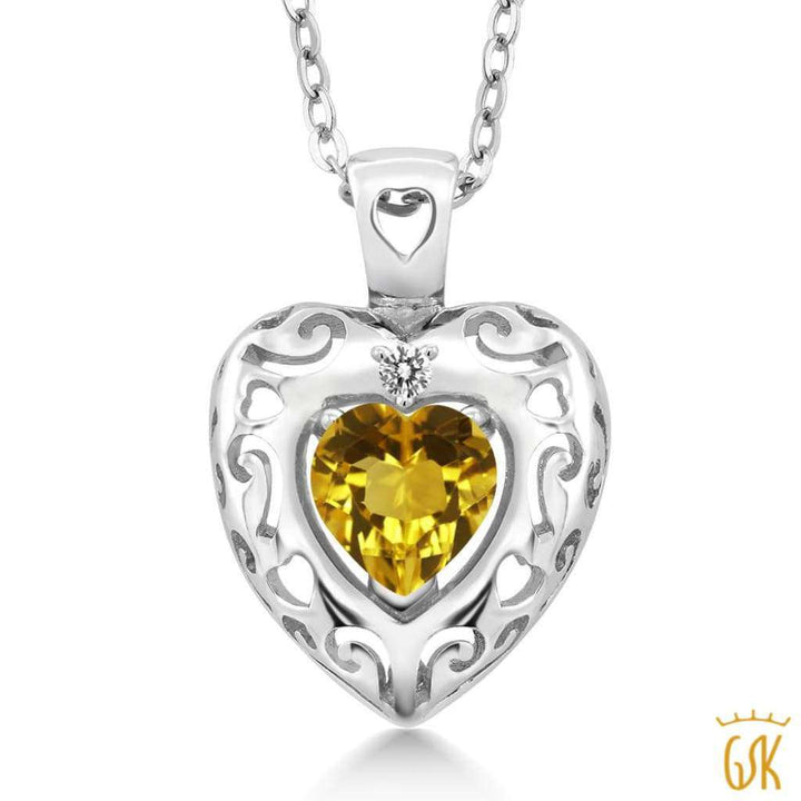 0.72 Ct Heart Shape Yellow Citrine White Diamond 925 Sterling Silver Pendant - Jewelry