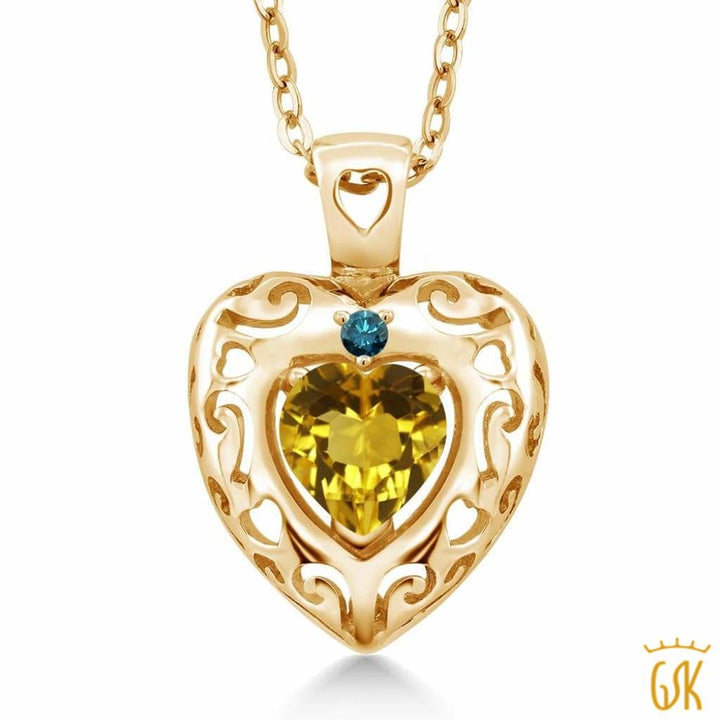 0.72 Ct Yellow Citrine Blue Diamond 18K Yellow Gold Plated Silver Pendant - Jewelry