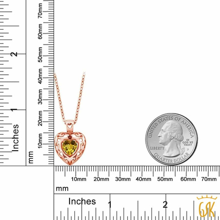 0.72 Ct Yellow Citrine Red Garnet 18K Rose Gold Plated Silver Pendant - Jewelry