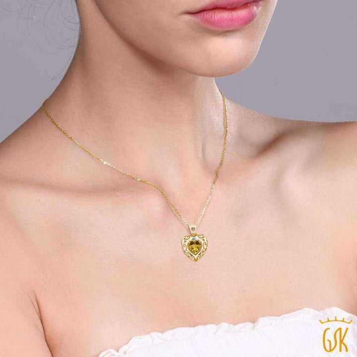 0.72 Ct Yellow Citrine White Diamond 18K Yellow Gold Plated Silver Pendant - Jewelry