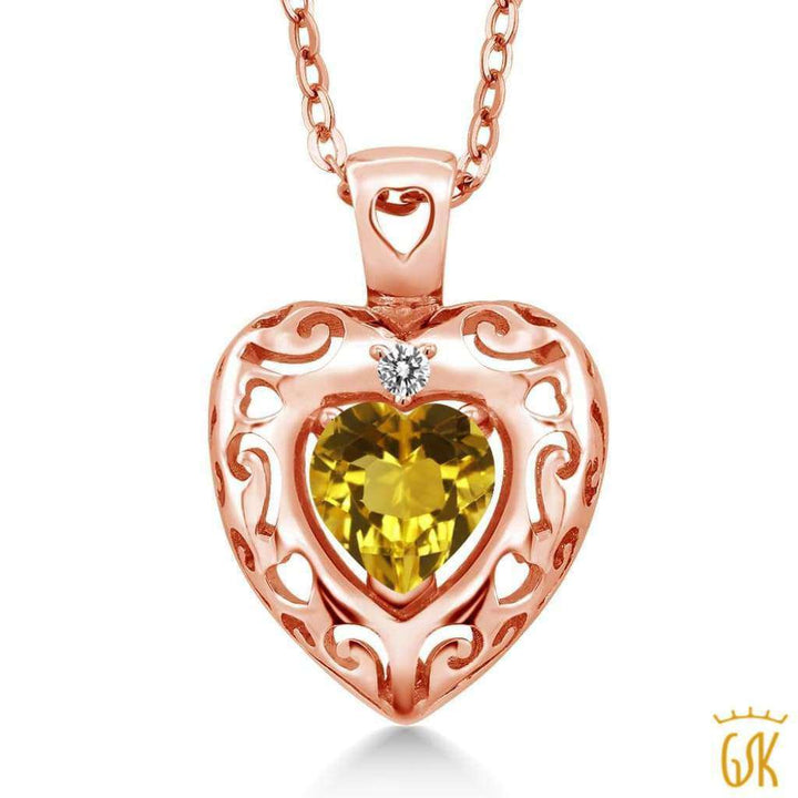 0.72 Ct Yellow Citrine White Diamond 18K Rose Gold Plated Silver Pendant - Jewelry