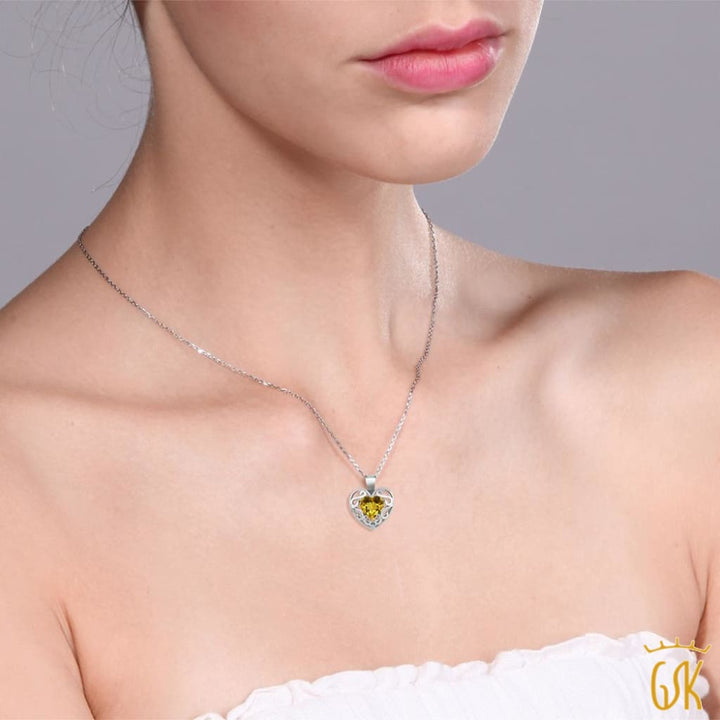 0.73 Ct Heart Shape Citrine White Topaz 925 Silver Pendant With 18 Chain - Jewelry