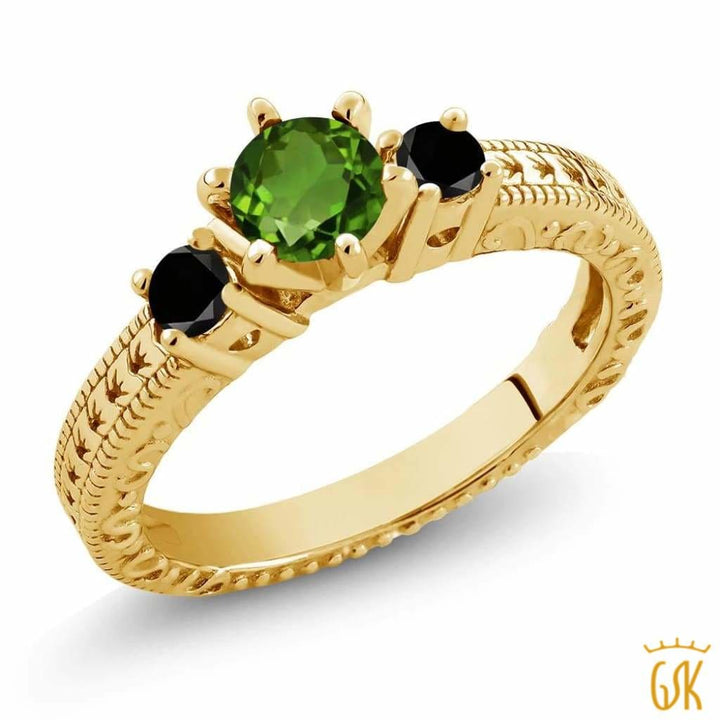 0.74 Ct Green Chrome Diopside Black Diamond 18K Yellow Gold Plated Silver 3-Stone Ring - Jewelry