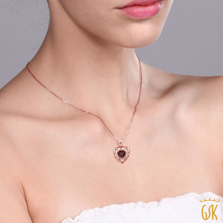 0.74 Ct Red Rhodolite Garnet White Diamond 18K Rose Gold Plated Silver Pendant - Jewelry
