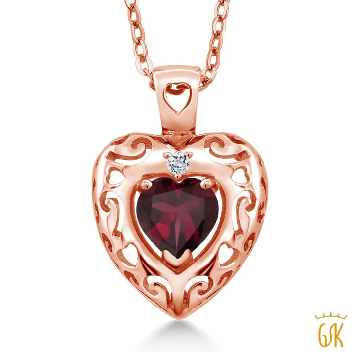 0.74 Ct Red Rhodolite Garnet White Topaz 18K Rose Gold Plated Silver Pendant - Jewelry