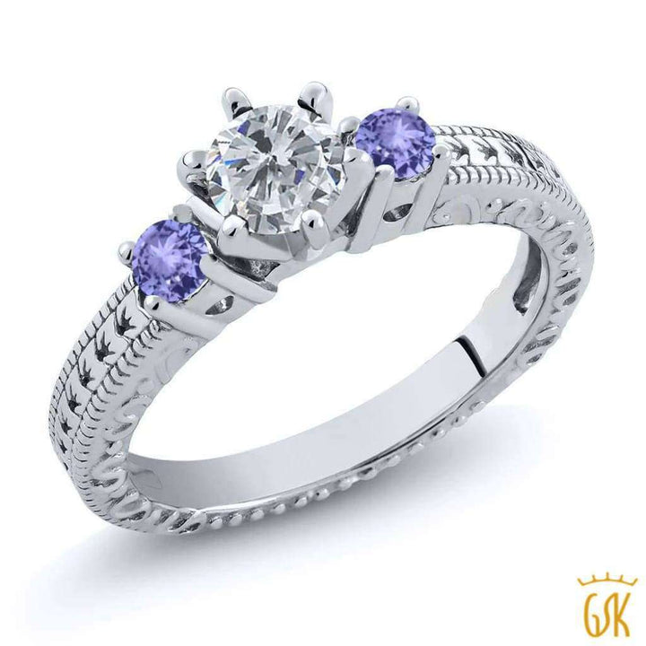 0.74 Ct Round G/h Diamond Blue Tanzanite 925 Sterling Silver 3-Stone Ring - Jewelry