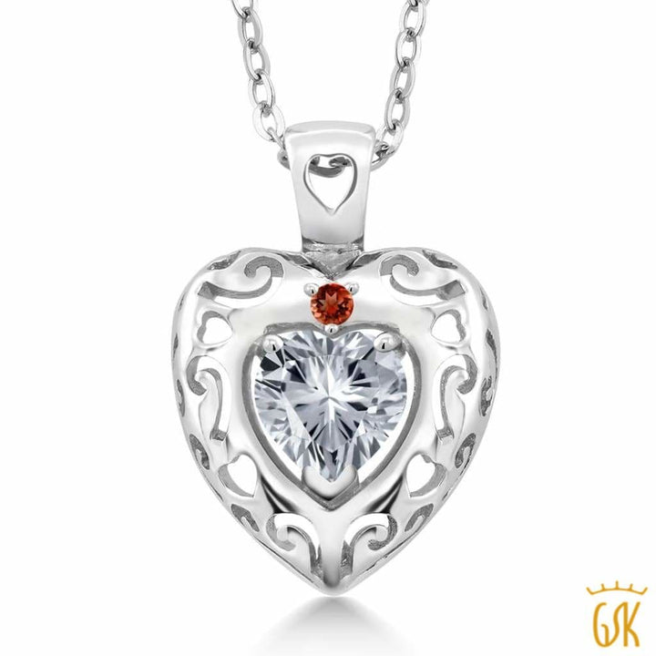 0.76 Ct 925 Sterling Silver Pendant Made With White Swarovski Zirconia - Jewelry