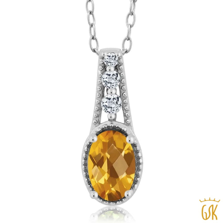 0.77 Ct Oval Checkerboard Yellow Citrine White Topaz 925 Sterling Silver Pendant - Jewelry