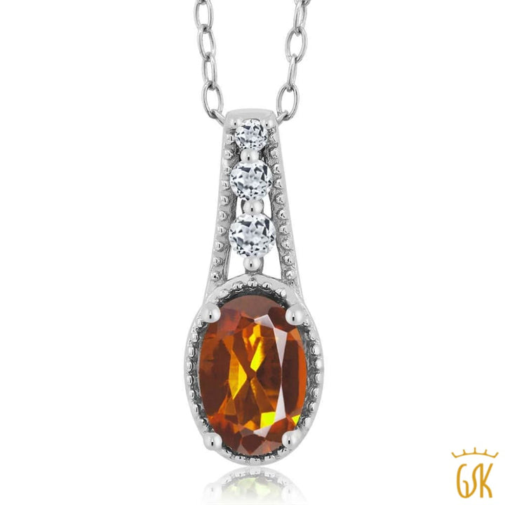 0.77 Ct Oval Orange Red Madeira Citrine White Topaz 925 Sterling Silver Pendant - Jewelry