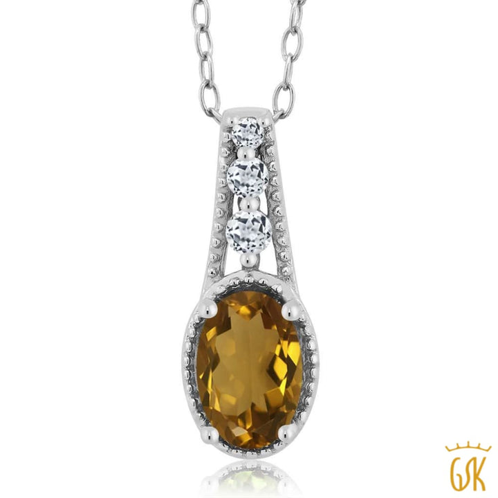 0.77 Ct Oval Whiskey Quartz White Topaz 925 Sterling Silver Pendant - Jewelry