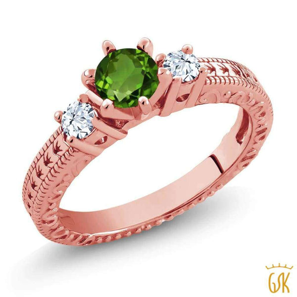 0.78 Ct Green Chrome Diopside White Topaz 18K Rose Gold Plated Silver 3-Stone Ring - Jewelry