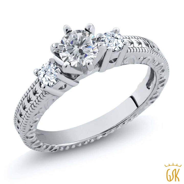 0.78 Ct Round G/h Diamond White Topaz 925 Sterling Silver 3-Stone Ring - Jewelry