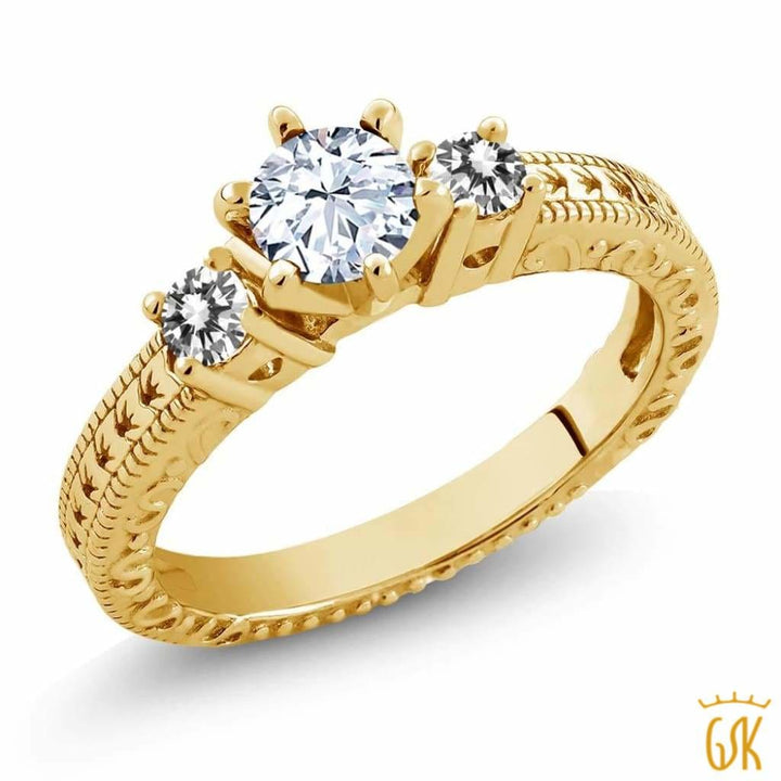 0.80 Ct Round White Topaz Diamond 18K Yellow Gold Plated Silver 3-Stone Ring - Jewelry