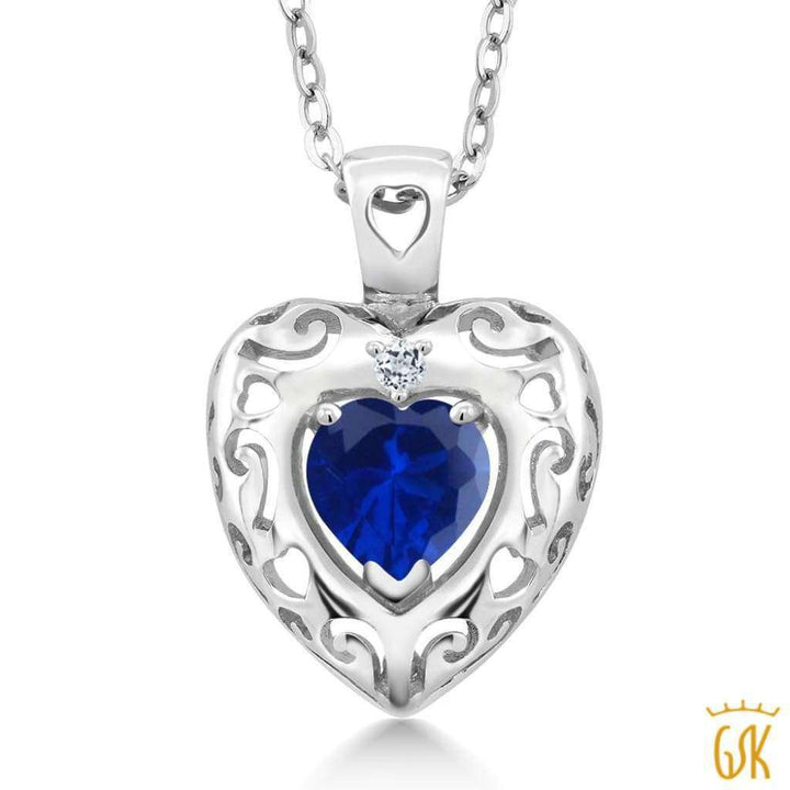 0.82 Ct Blue Simulated Sapphire White Topaz 925 Sterling Silver Pendant - Jewelry