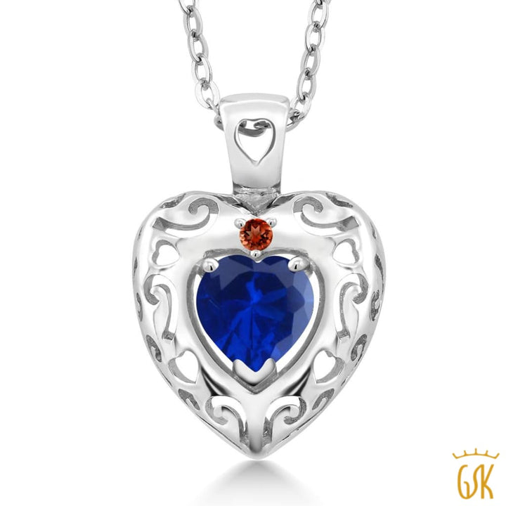 0.82 Ct Heart Shape Blue Simulated Sapphire Red Garnet 925 Silver Pendant - Jewelry