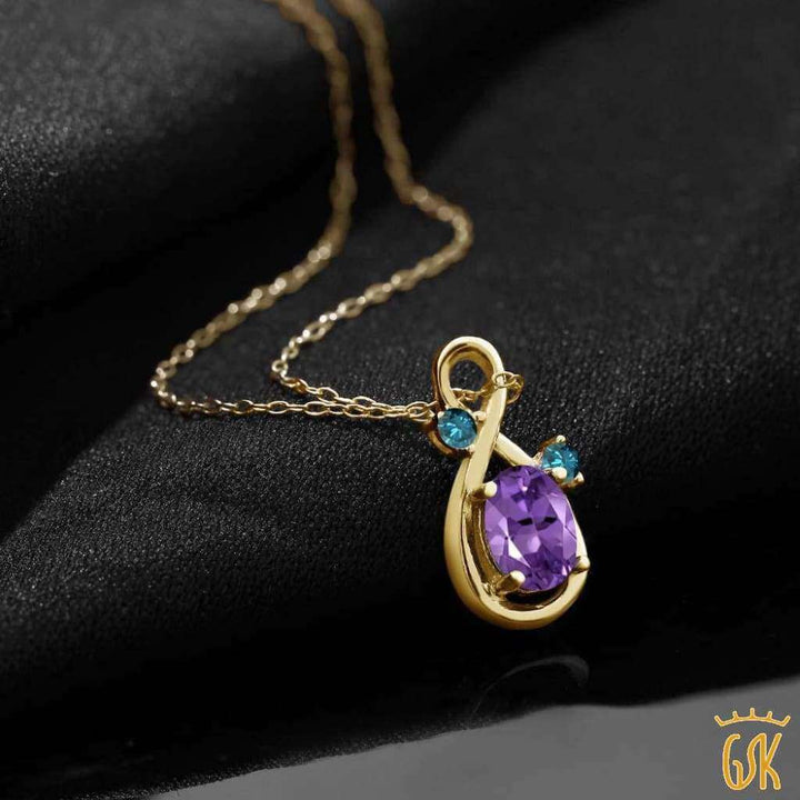 0.82 Ct Oval Purple Amethyst Blue Diamond 18K Yellow Gold Plated Silver Pendant - Jewelry