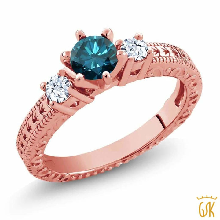 0.83 Ct Round Blue Diamond White Topaz 18K Rose Gold Plated Silver 3-Stone Ring - Jewelry