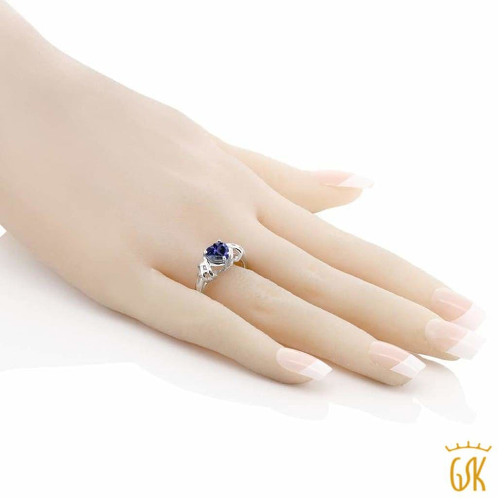 0.84 Ct Heart Shape Iolite 925 Silver Ring - Jewelry