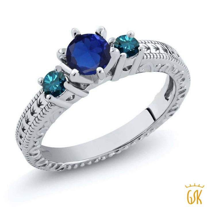 0.84 Ct Round Blue Simulated Sapphire Diamond 925 Sterling Silver 3-Stone Ring - Jewelry
