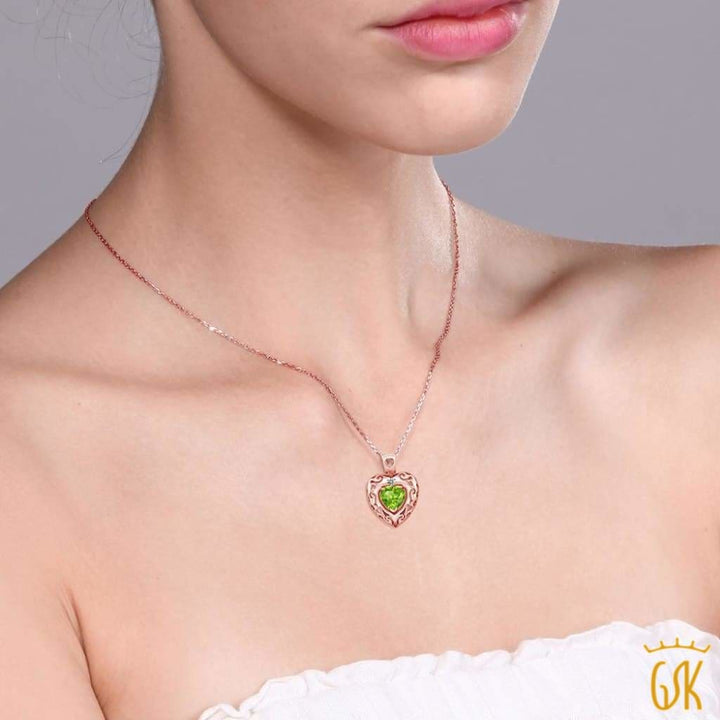 0.85 Ct Green Peridot White Diamond 18K Rose Gold Plated Silver Pendant - Jewelry