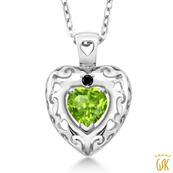 0.85 Ct Heart Shape Green Peridot Black Diamond 925 Sterling Silver Pendant - Jewelry