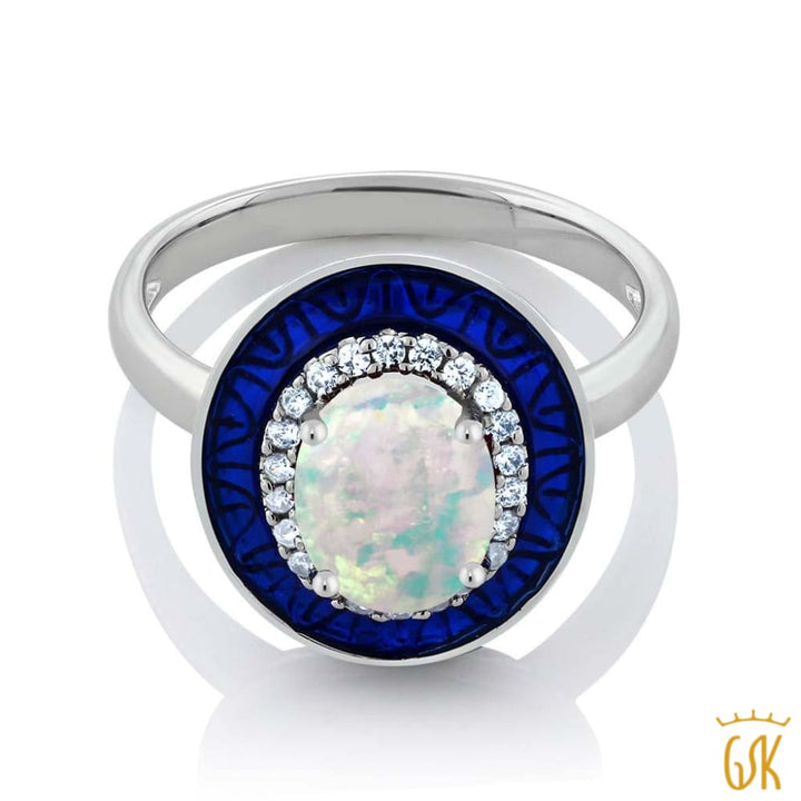 0.86 Ct Oval Cabochon White Simulated Opal 925 Sterling Silver Womens Ring - Jewelry